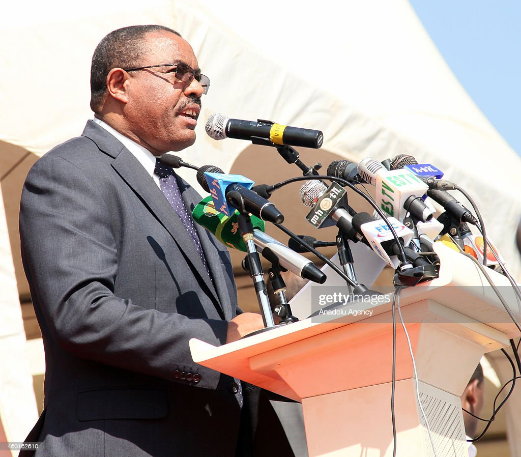 Ethiopian Prime Minister <a gi-track='captionPersonalityLinkClicked' href=/galleries/search?phrase=Hailemariam+Desalegn&family=editorial&specificpeople=7752700 ng-click='$event.stopPropagation()'>Hailemariam Desalegn</a> delivers a speech during a ceremony marking the 9th Nations, Nationalities and People's Day at Asosa stadium in the western city of Assosa, capital of Benishangul-Gumuz State on December 8, 2014. Ethiopians turned the anniversary into a national event nine years ago, dubbing it 'Nations' and Nationalities Day,' during which they celebrate the country's unity and its cultural, religious, linguistic and ethnic diversity.