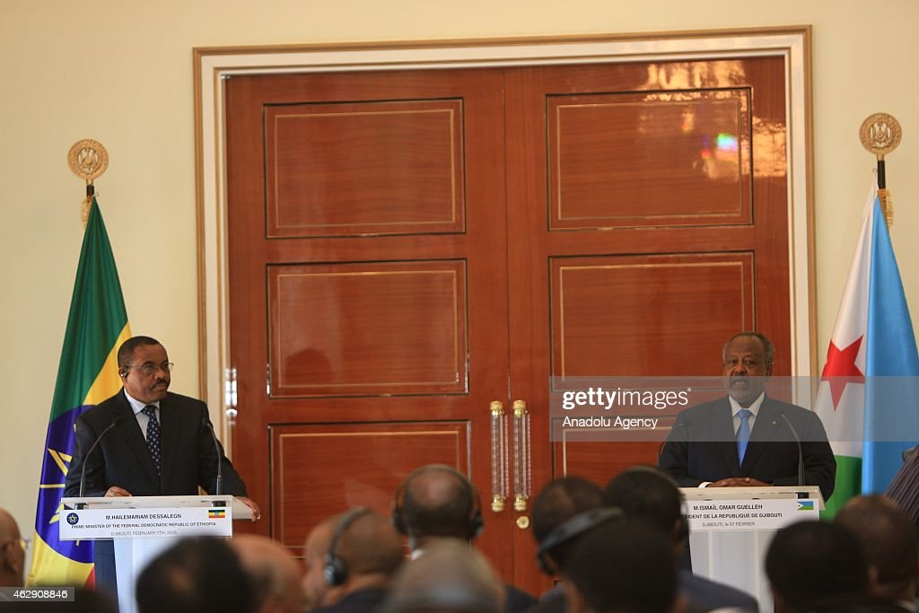 Ethiopian Prime Minister <a gi-track='captionPersonalityLinkClicked' href=/galleries/search?phrase=Hailemariam+Desalegn&family=editorial&specificpeople=7752700 ng-click='$event.stopPropagation()'>Hailemariam Desalegn</a> (L) holds a joint press conference with Djiboutian President Ismail Omar Guelleh (R) at Djiboutian Presidency after he arrives in Djibouti City, Djibouti on February 07, 2015. The two countries are expected to sign five cooperation agreements on economic integration, transport, power and energy and foreign relations.
