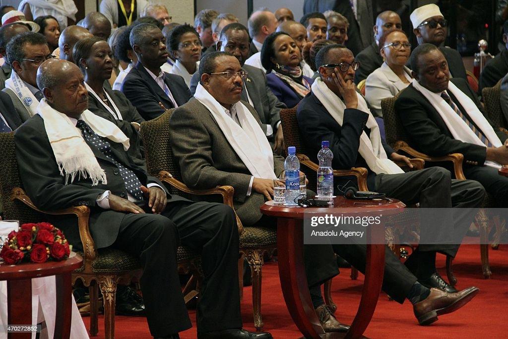 Ethiopian Prime Minister Hailemariam Desalegn Rwandan President Paul Kagame Kenyan President Uhuru Kenyatta Uganda's President Yoweri Museveni attend...