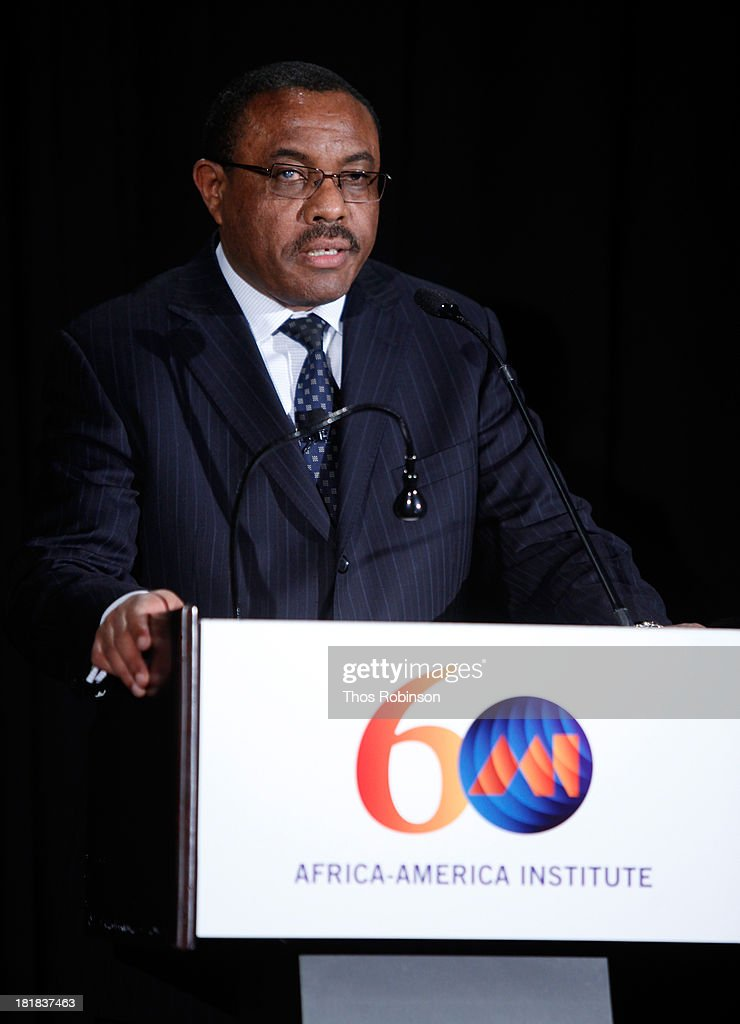 Ethiopian Prime Minister <a gi-track='captionPersonalityLinkClicked' href=/galleries/search?phrase=Hailemariam+Desalegn&family=editorial&specificpeople=7752700 ng-click='$event.stopPropagation()'>Hailemariam Desalegn</a> speaks during the Africa-America Institute 60th Anniversary Awards Gala at New York Hilton on September 25, 2013 in New York City.