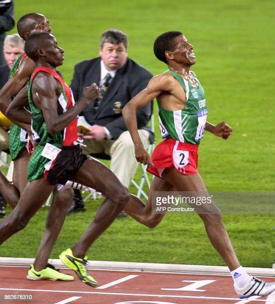 Ethiopian runner Haile Gebreselassie of Ethiopia crosses the finish line of the men's 10000m Round 1 in the Sydney Olympic Games 22 September 2000...