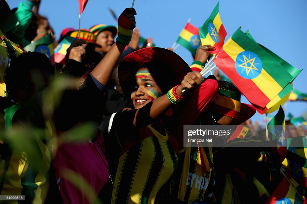 Ethiopian supporters wave their country's flag during the Standard Chartered Dubai Marathon on January 23, 2015 in Dubai, United Arab Emirates.