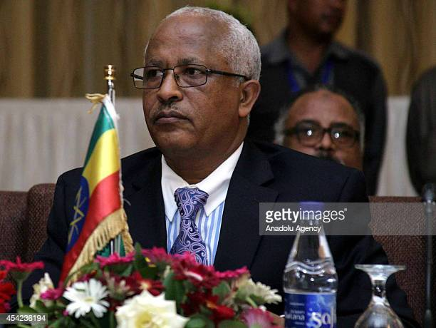 Ethiopian Water Minister Alemayehu Tegenu takes part in the last day of a Nile River forum in the Sudanese capital Khartoum on August 26 2014 Egypt...