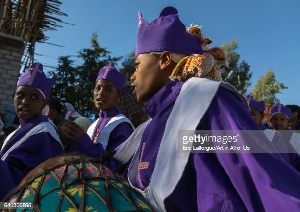 Ethiopian young women singing during Timkat epiphany festival on January 18 2017 in Lalibela Ethiopia