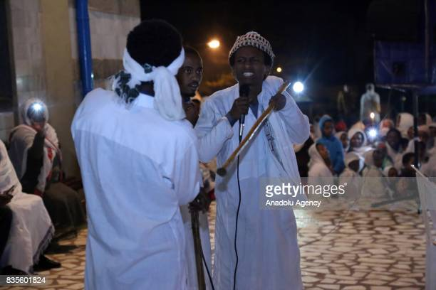 Ethiopians attend a religious ceremony at Gola St Michael Church as they celebrate Buhe Holiday in Addis Ababa Ethiopia on August 19 2017 Buhe...
