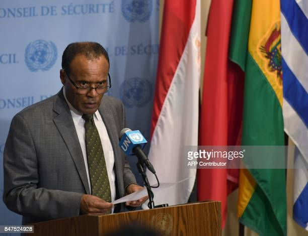 Ethiopia's Ambassador to the United Nations Tekeda Alemu issues a statement to the press after a Security Council meeting on North Korea on September...