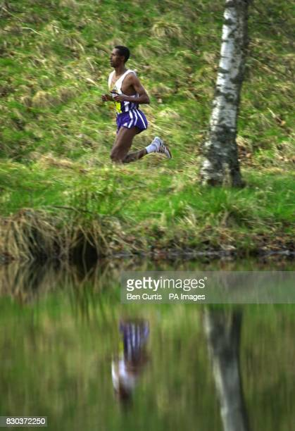Ethiopia's Fita Bayessa makes his way to the finish where he won the Men's five mile race at the Balmoral Road Races in the grounds of Balmoral...