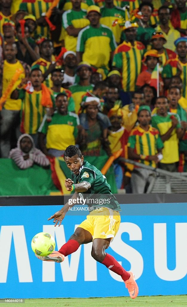 Ethiopia's forward Getaneh Kebede shoots the ball during the 2013 African Cup of Nations Group C match at the Royal Bafokeng stadium in Rustenburg on January 29, 2013.