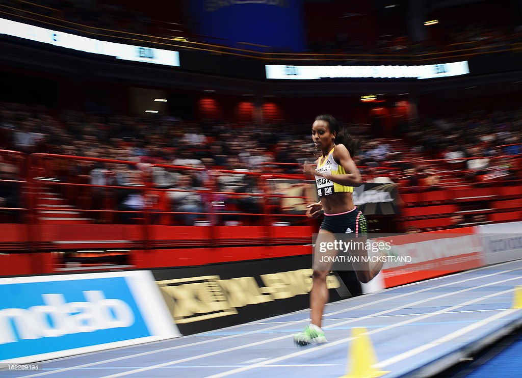 Ethiopia's Genzebe Dibaba competes to win the women's 3000 m event of the XL Galan Stockholm Athletics Indoor meeting on February 21, 2013 at the Ericsson Globe Arena in Stockholm.