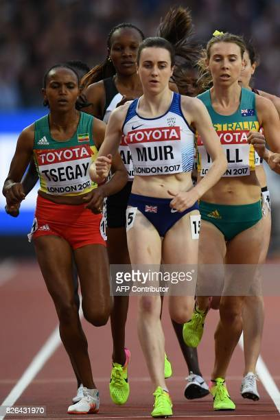 Ethiopia's Gudaf Tsegay Britain's Laura Muir and Australia's Linden Hall compete in the qualifying round of the women's 1500m athletics event at the...
