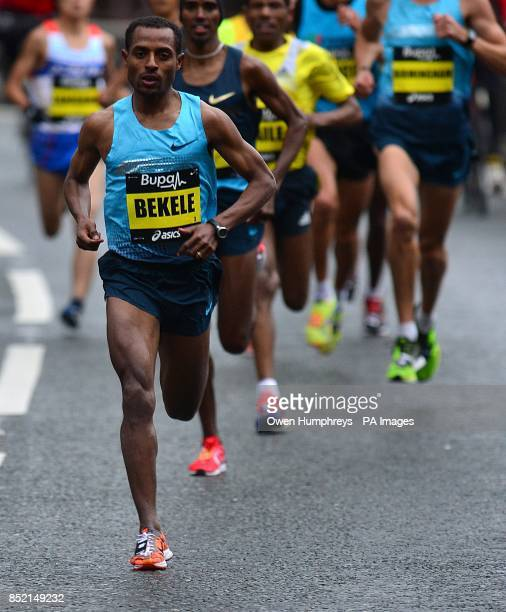 Ethiopia's Keneisa Bekele in action during the 2013 Great North Run between Newcastle and South Shields