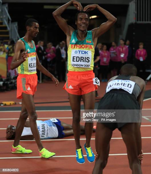 Ethiopia's Mukhtar Edris performs a MoBot after taking gold in the Men's 5000m Final during day nine of the 2017 IAAF World Championships at the...