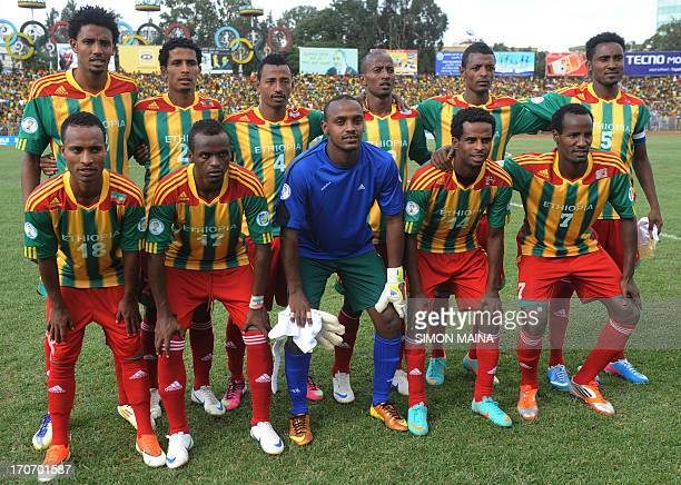 Ethiopia's national football team poses before the 2014 FIFA World Cup qualifying football match Ethiopia vs South Africa on June 16 2013 in Addis...