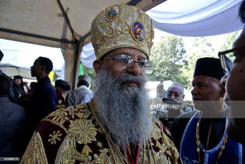 Ethiopia's newly elected Patriarch, Abune Mathias, is pictured at the Holy Trinity Cathedral in Addis Ababa on March 3, 2013, where he was officially sworn in as the head of Ethiopia's Orthodox Christian Church, Abune Mathias. Formerly the archbishop of the Ehiopian Orthodox Church in Jerusalem, Abune Mathias was elected last week, following the sudden death of the previous previous Patriach in August. About two thirds of Ethiopia's 83 million people are Christian, according to official figures, with the majority following the Orthodox faith.