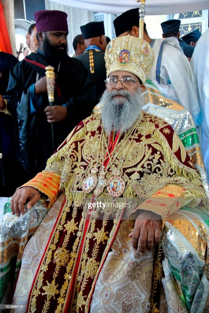 Ethiopia's newly elected Patriarch, Abune Mathias, poses at Holy Trinity Cathedral in Addis Ababa on March 3, 2013, where he was officially sworn in as the head of Ethiopia's Orthodox Christian Church, Abune Mathias. Formerly the archbishop of the Ehiopian Orthodox Church in Jerusalem, Abune Mathias was elected last week, following the sudden death of the previous previous Patriach in August. About two thirds of Ethiopia's 83 million people are Christian, according to official figures, with the majority following the Orthodox faith.