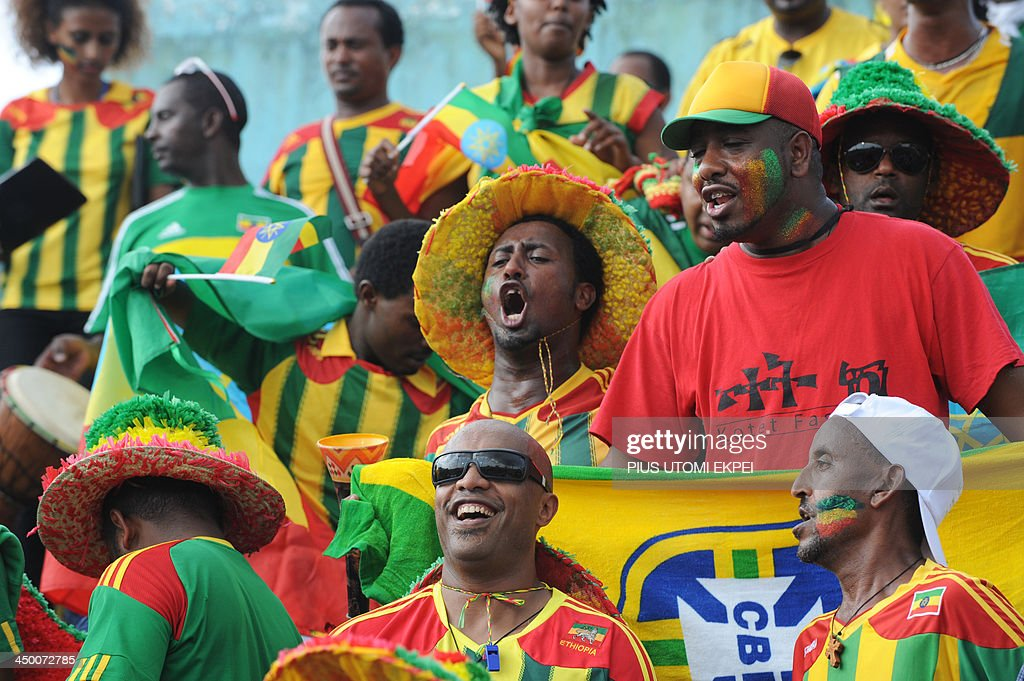 Ethiopia's supporters cheer their team during the FIFA 2014 World Cup second leg qualifying football match between Nigeria and Ethiopia in Calabar in November 16, 2013. Nigeria defeated Ethiopia 2-0. AFP PHOTO/PIUS UTOMI EKPEI