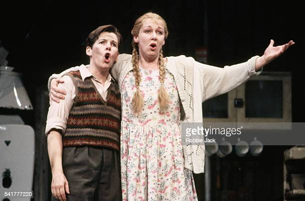 Ethna Robinson and Rosa Mannion perform in an English National Opera production of Hansel and Gretel November 1992