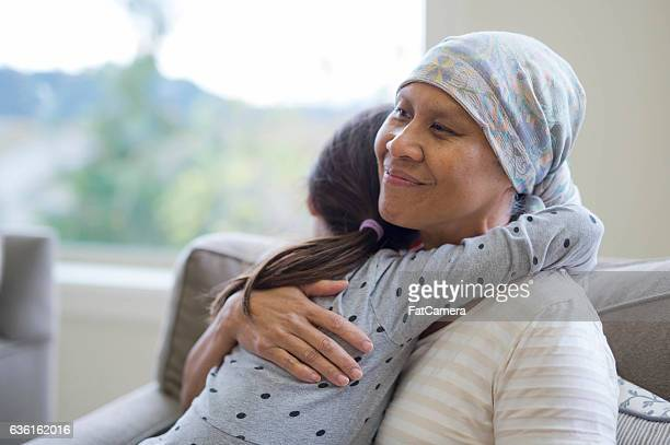Ethnic adult female cancer patient hugging her granddaughter