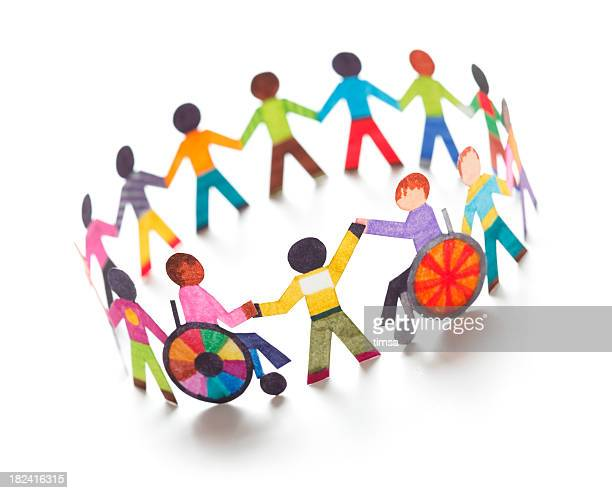 Ethnic circle with handicapped people - paper concept