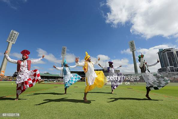 Ethnic dancers perform before the Big Bash League match between the Perth Scorchers and the Brisbane Heat at WACA on January 5 2017 in Perth Australia