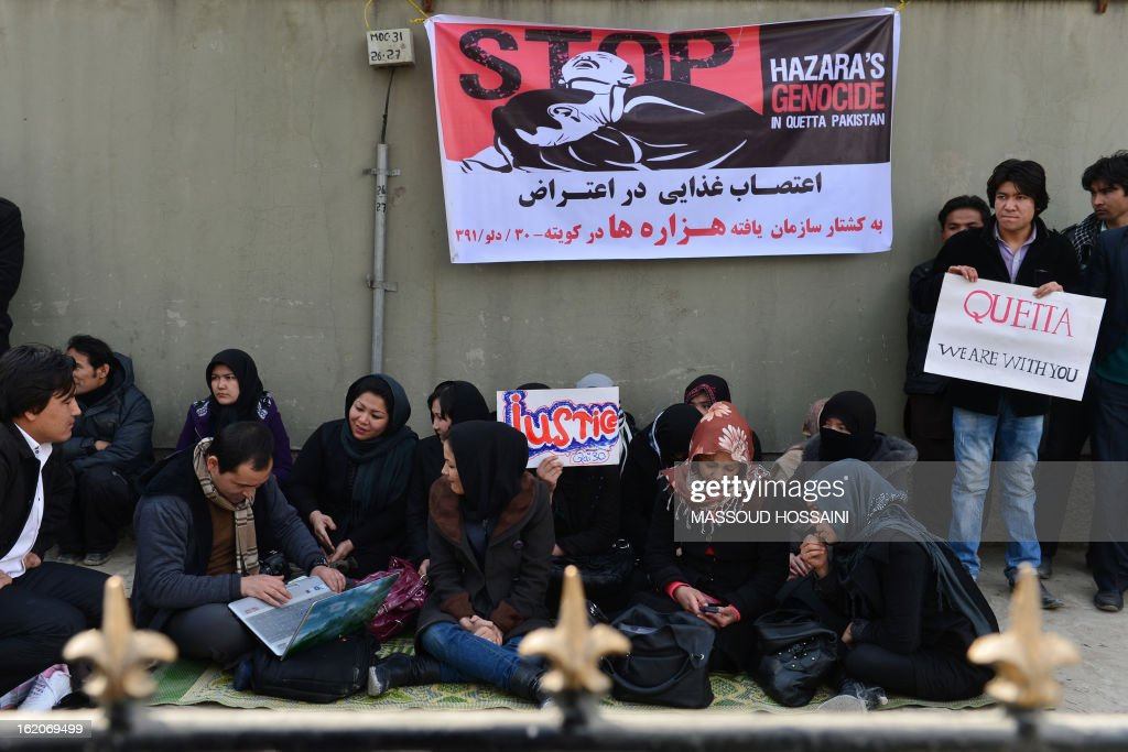 Ethnic Hazara Afghan Shiite Muslims participate in a hunger strike, in protest against the February 16 bombing in Pakistan targeting Shiites that killed 89 people, in Kabul on February 19, 2013. The hunger strikers began their fast in front of the UN office in the Afghan capital in reaction to the attack on the outskirts of the southwestern Pakistani city of Quetta, where thousands of Shiites are demanding army protection and refusing to bury the victims of Saturday's bomb attack on their ethnic Hazara community. AFP PHOTO/ Massoud HOSSAINI