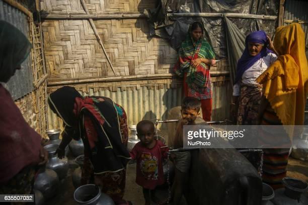 Ethnic minority Rohingya are seen inside the makeshift Leda Rohingya refugee camp on February 15 2017 in Bangladesh Thousands of Rohingya living at...