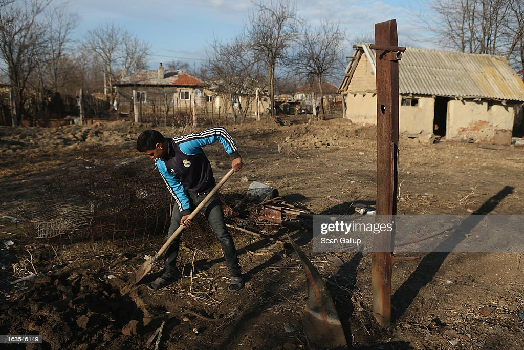 Ethnic Roma Florin Costea, 17, digs out iron columns and other builng scraps that were part of a shed to make way for a vegetable garden on the property of his father on March 11, 2013 in Dilga, Romania. Florin is still in high school and is helping his father Marian to build a house. Marian worked for two years in Italy as a construction worker until he lost his job as the Italian economy declined. Dilga is a settlement of 2,500 people with dirt roads and no running water, and unemployment is at 70%. Most of the working-age men and women have at some point worked abroad, mostly in Italy or Great Britain, as many say they are unable to find adequate work in Romania. Romania's Roma belong to a myriad of different tribes defined by their craft, and Dilga's belong to a group called the Rudari, who until the 1930s specialised in woodcrafts. During the communist years most worked in nearby state-run factories and agricultural cooperatives, though the majority of these went bankrupt after 1989 and the local Roma lost their jobs. Since then they have struggled to make ends meet and find a better future for their children, though projects initiated by the European Union and NGOs are helping some to launch small-scale enterprises and improve their children's education.