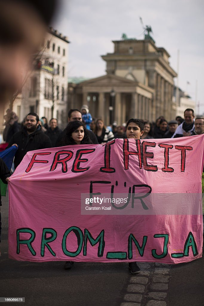 Ethnic Roma protest against discrimination against Roma on International Roma Day on April 8, 2013 in Berlin, Germany. Western Europe has experienced a large influx of Roma, who are also called Gypsies, from Romania and Bulgaria in recent years following the accession of the two countries to the European Union. Restrictions on the rights of Romanian and Bulgarian citizens to work in the EU are scheduled to end at the end of 2013.