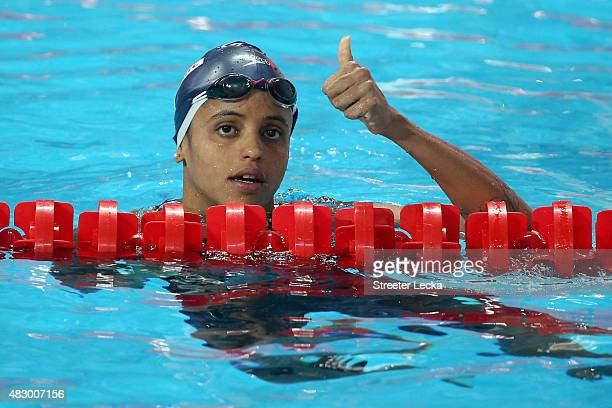 Etiene Medeiros of Brazil celebrates after the Women's 50m Backstroke SemiFinals on day twelve of the 16th FINA World Championships at the Kazan...