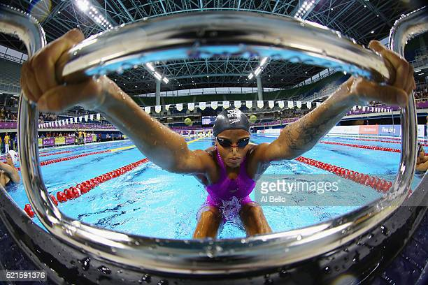 Etiene Medeiros of Brazil gets ready to start the Women's 100m Final during the Maria Lenk Trophy competition at the Aquece Rio Test Event for the...