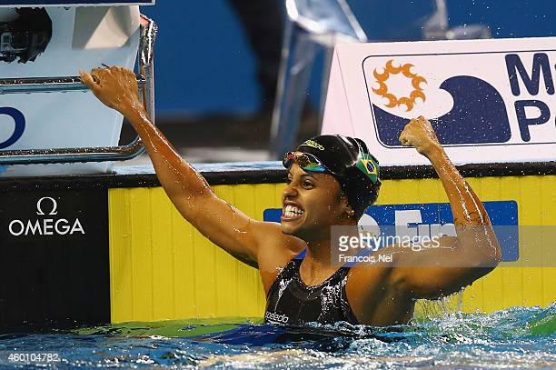 Etiene Medeiros of Brazil reacts after winning the Women's 50m Backstroke Final during day five of the 12th FINA World Swimming Championships at the...