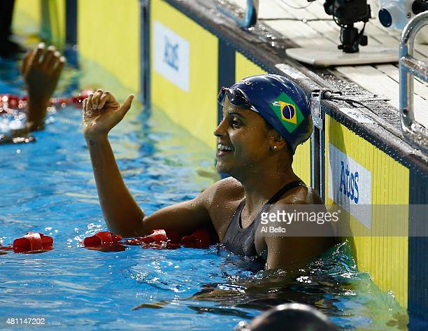 Etiene Medeiros of Brazil reacts after winning the Womens 50m finals at the Pan Am Games on July 17 2015 in Toronto Canada