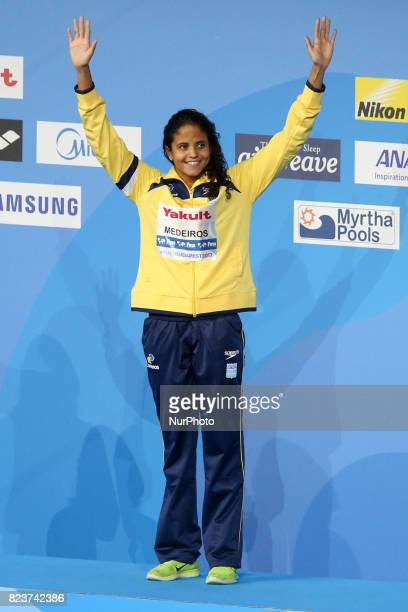 Etiene Medeiros of Brazil wins hte wonen's 50m backstroke final at the FINA World Championships 2017 in Budapest Hungary 27 July 2017