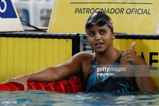 Etiene Pires Medeiros of Brazil celebrates the victory after competing the Women's 50m Freestyle final during Maria Lenk Swimming Trophy 2017 Day 5...