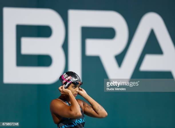 Etiene Pires Medeiros of Brazil competes in the Women's 50m Freestyle final during Maria Lenk Swimming Trophy 2017 Day 5 at Maria Lenk Aquatics...