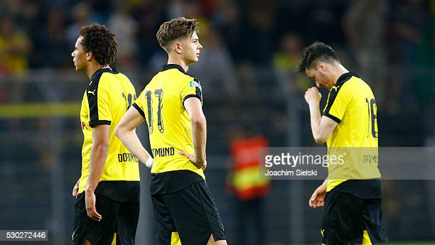 Etienne Amenyido Alexander Laukart and David Kopacz of Dortmund after the German U19 Championship Semi Final First Leg match between Borussia...