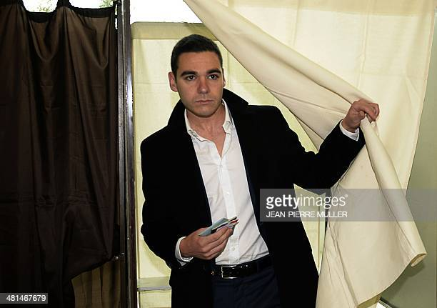 Etienne BousquetCassagne French farright National Front party candidate for the mayoral election in VilleneuvesurLot steps out of a polling booth...