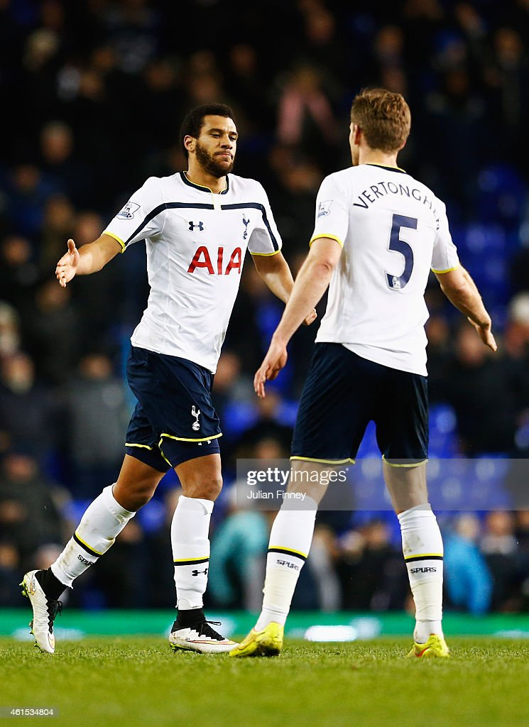 <a gi-track='captionPersonalityLinkClicked' href=/galleries/search?phrase=Etienne+Capoue&family=editorial&specificpeople=809639 ng-click='$event.stopPropagation()'>Etienne Capoue</a> of Spurs celebrates with <a gi-track='captionPersonalityLinkClicked' href=/galleries/search?phrase=Jan+Vertonghen&family=editorial&specificpeople=1360499 ng-click='$event.stopPropagation()'>Jan Vertonghen</a> (5) as he scores their second and equalising goal during the FA Cup Third Round Replay match between Tottenham Hotspur and Burnley at White Hart Lane on January 14, 2015 in London, England.