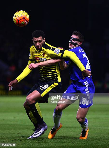 Etienne Capoue of Watford and Cesar Azpilicueta of Chelsea compete for the ball during the Barclays Premier League match between Watford and Chelsea...