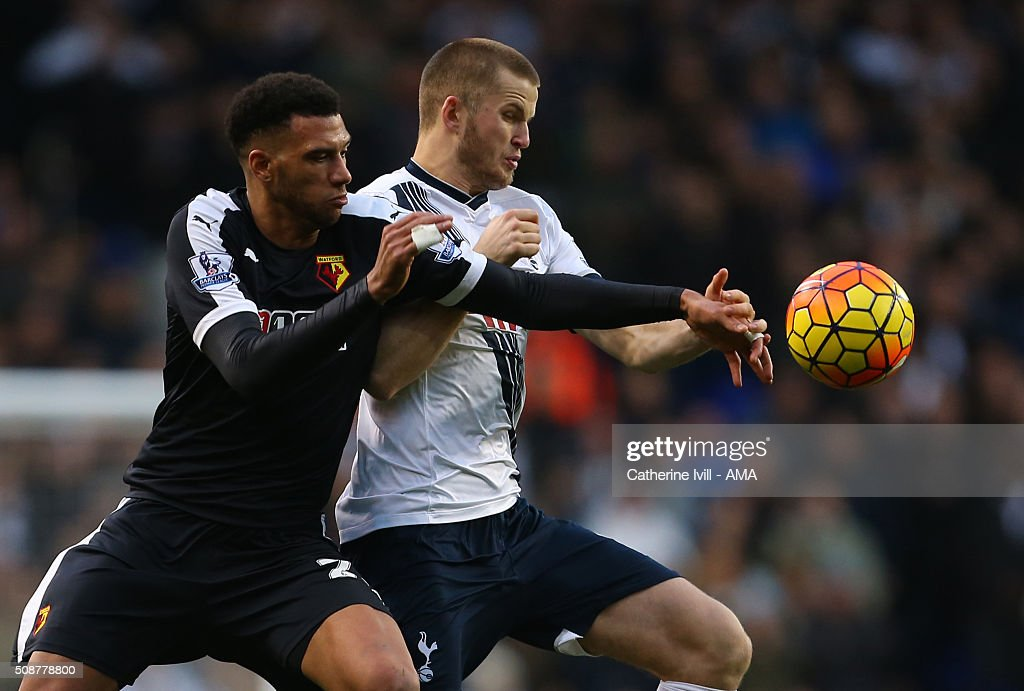Etienne Capoue of Watford and Eric Dier of Tottenham Hotspur during the Barclays Premier League match between Tottenham Hotspur and Watford at White Hart Lane on February 6, 2016 in London, England.