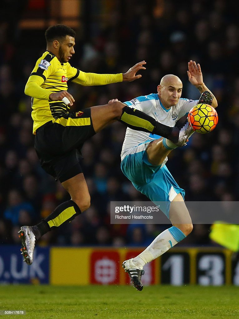 <a gi-track='captionPersonalityLinkClicked' href=/galleries/search?phrase=Etienne+Capoue&family=editorial&specificpeople=809639 ng-click='$event.stopPropagation()'>Etienne Capoue</a> of Watford and <a gi-track='captionPersonalityLinkClicked' href=/galleries/search?phrase=Jonjo+Shelvey&family=editorial&specificpeople=4940315 ng-click='$event.stopPropagation()'>Jonjo Shelvey</a> of Newcastle United compete for the ball during the Barclays Premier League match between Watford and Newcastle United at Vicarage Road on January 23, 2016 in Watford, England
