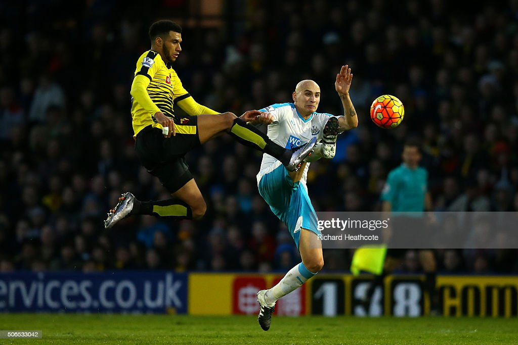 Etienne Capoue of Watford and Jonjo Shelvey of Newcastle United compete for the ball during the Barclays Premier League match between Watford and Newcastle United at Vicarage Road on 23 January 2016 in Watford, England.