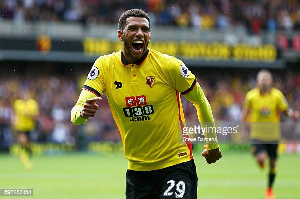 Etienne Capoue of Watford celebrates scoring his sides first goal during the Premier League match between Watford and Chelsea at Vicarage Road on...