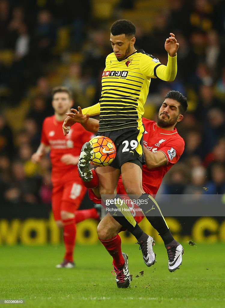 <a gi-track='captionPersonalityLinkClicked' href=/galleries/search?phrase=Etienne+Capoue&family=editorial&specificpeople=809639 ng-click='$event.stopPropagation()'>Etienne Capoue</a> of Watford is tackled by <a gi-track='captionPersonalityLinkClicked' href=/galleries/search?phrase=Emre+Can&family=editorial&specificpeople=5909273 ng-click='$event.stopPropagation()'>Emre Can</a> of Liverpool during the Barclays Premier League match between Watford and Liverpool at Vicarage Road on December 20, 2015 in Watford, England.