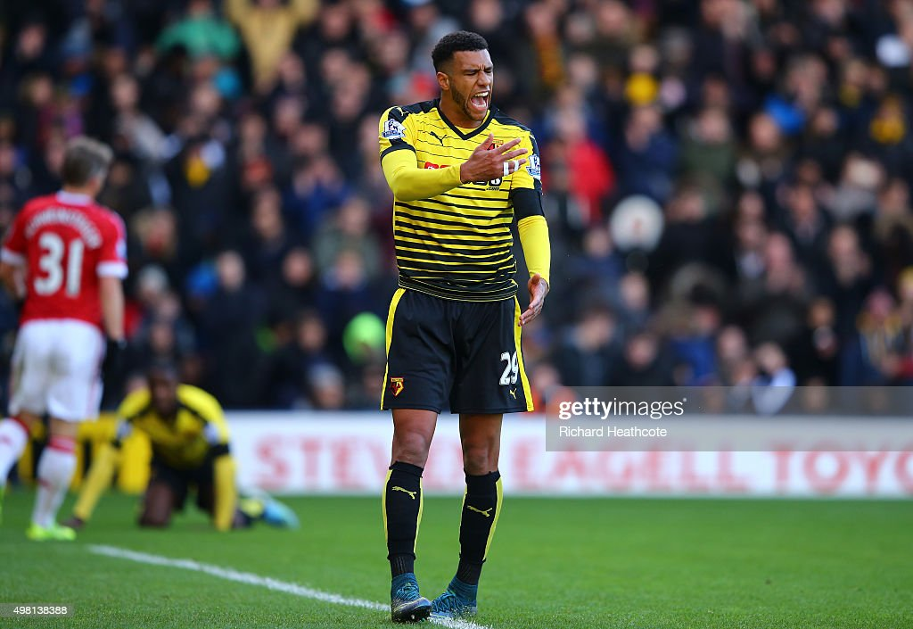 <a gi-track='captionPersonalityLinkClicked' href=/galleries/search?phrase=Etienne+Capoue&family=editorial&specificpeople=809639 ng-click='$event.stopPropagation()'>Etienne Capoue</a> of Watford reacts during the Barclays Premier League match between Watford and Manchester United at Vicarage Road on November 21, 2015 in Watford, England.