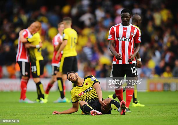 Etienne Capoue of Watford reacts with Victor Wanyama of Southampton after the final whistle during the Barclays Premier League match between Watford...
