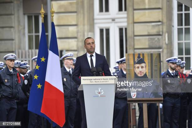 Etienne Cardiles husband of Xavier Jugele during the National tribute to fallen French Policeman Xavier Jugele on April 25 2017 in Paris France...