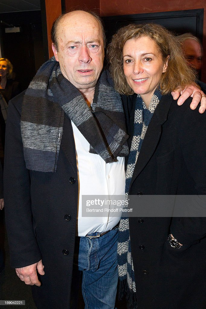 Etienne Chicot (L) and guest pose after attending the show of French impersonator Laurent Gerra at Olympia hall on January 5, 2013 in Paris, France.