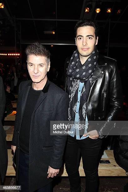 Etienne Daho and Jean Victor Meiers attend the Saint Laurent Menswear Fall/Winter 20142015 Show as part of Paris Fashion Week on January 19 2014 in...