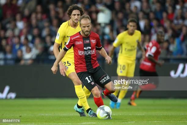 Etienne Didot of Guingamp Adrien Rabiot of PSG during the French Ligue 1 match between En Avant Guingamp and Paris Saint Germain at Stade de...